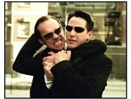 """The Matrix Reloaded"" Movie still: Hugo Weaving And Keanu Reeves"