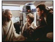 """Star Wars: Episode I--The Phantom Menace"" Movie Still: Qui-Gon Jinn, Youn ANakin, R2-D2 and Obi-Wan Kenobi confer"