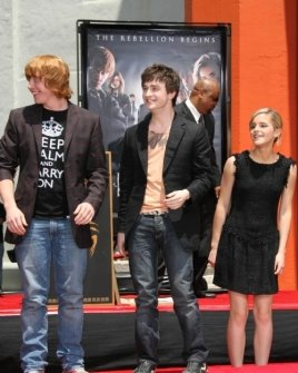 Rupert Grint with Daniel Radcliffe and Emma Watson