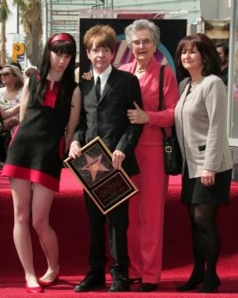 Crystal Nichols and Rodney Bingenheimer with Zelda Bingenheimer and Sharon McDonald