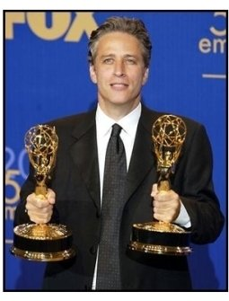 Jon Stewart on the backtage at the 2003 Emmy Awards