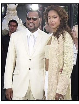"Laurence Fishburne and Gina Torres at ""The Matrix Reloaded"" premiere"