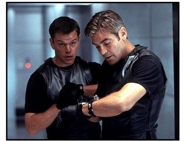 Oceans Eleven movie still: Matt Damon as Linus Caldwell and George Clooney as Danny Ocean