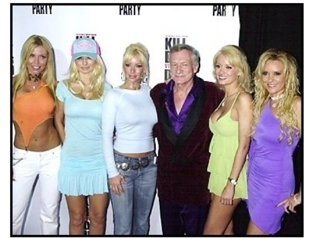 "Hugh Hefner and his playmates at the ""Kill Bill Vol. 1"" DVD Release Party"